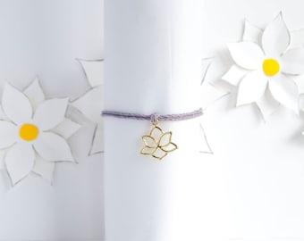 Lotus Flower Charm Bracelet | Yoga Hemp Bracelet | Yoga Jewelry | Lotus Jewelry | Stackable Bracelet | Handmade | Adjustable Bracelet