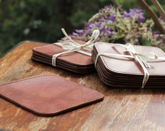 Handmade italian full grain leather stitched coasters, coasters set, leather barware, bar coasters,glass coasters,leather gift,office gift