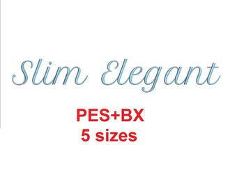"""Slim Elegant Script embroidery font formats bx (which converts to 17 machine formats), + pes, Sizes 0.25 (1/4), 0.50 (1/2), 1, 1.5 and 2"""""""
