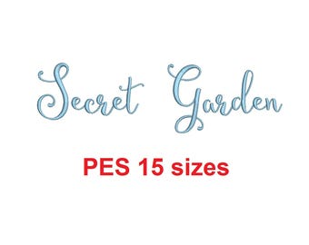Secret Garden embroidery font PES format 15 Sizes 0.25 (1/4), 0.5 (1/2), 1, 1.5, 2, 2.5, 3, 3.5, 4, 4.5, 5, 5.5, 6, 6.5, and 7 inches