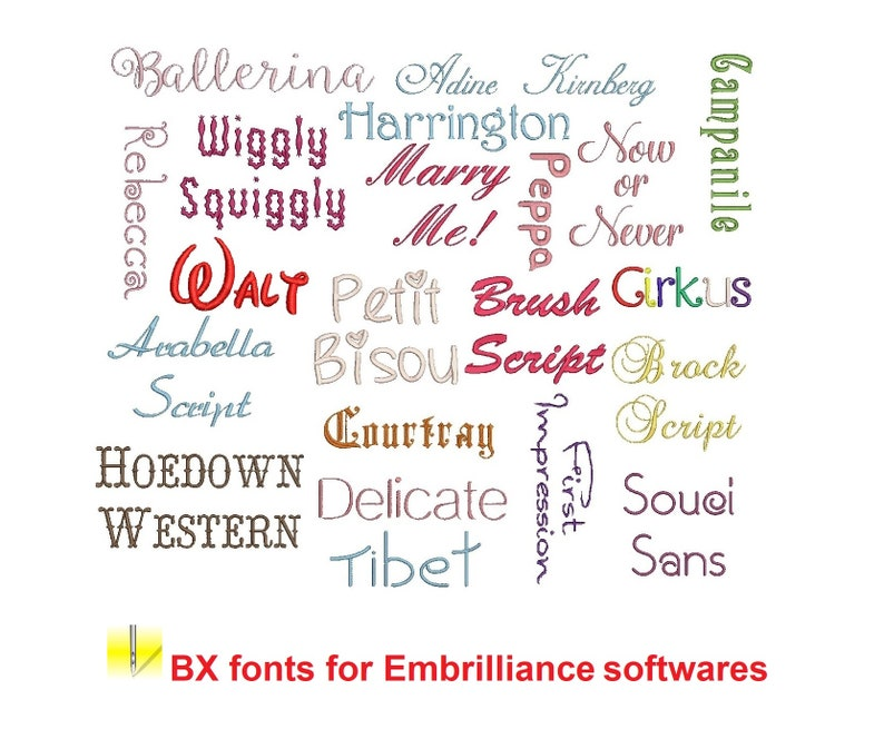 50 Best Sellers BX embroidery fonts Sizes 1 1.5 and 2 inches image 0