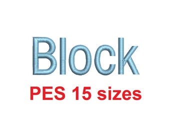Block embroidery font PES format 15 Sizes 0.25 (1/4), 0.5 (1/2), 1, 1.5, 2, 2.5, 3, 3.5, 4, 4.5, 5, 5.5, 6, 6.5, and 7 inches