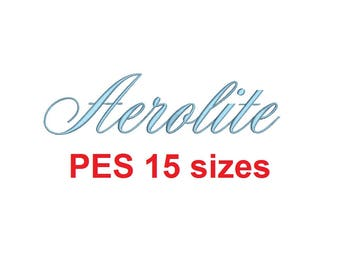 Aerolite Script embroidery font PES format 15 Sizes 0.25 (1/4), 0.5 (1/2), 1, 1.5, 2, 2.5, 3, 3.5, 4, 4.5, 5, 5.5, 6, 6.5, and 7 inches