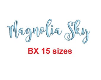 Magnolia Sky embroidery BX font Sizes 0.25 (1/4), 0.50 (1/2), 1, 1.5, 2, 2.5, 3, 3.5, 4, 4.5, 5, 5.5, 6, 6.5, and 7 inches