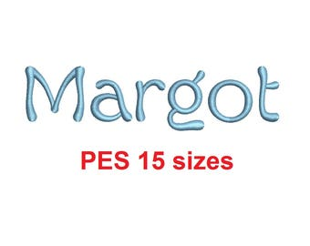 Margot embroidery font PES format 15 Sizes 0.25 (1/4), 0.5 (1/2), 1, 1.5, 2, 2.5, 3, 3.5, 4, 4.5, 5, 5.5, 6, 6.5, and 7 inches