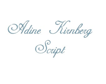 Adine Kirnberg Script embroidery font bx (compatible with 17 machine file formats), dst, exp, pes, jef and xxx, Sizes 1, 1.5, 2 inches