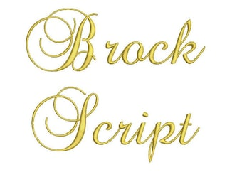 Brock Script embroidery font bx (compatible with 17 machine file formats), dst, exp, pes, jef and xxx, Sizes 1, 1.5, 2 inches