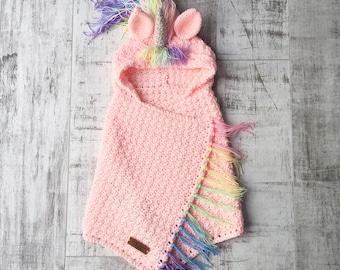Hooded unicorn blanket PATTERN Rainbow Hair PDF Crochet Download UK terms