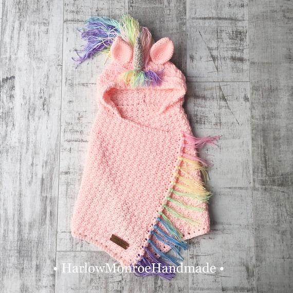 Kapuzen Einhorn Decke Muster Regenbogen Haar Pdf Häkeln Etsy