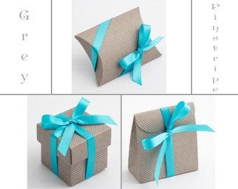 Grey Pinstripe Favour Box, Grey Wedding Favor Box, Grey Themed Wedding, Grey Party Favour, Lined Favor Box