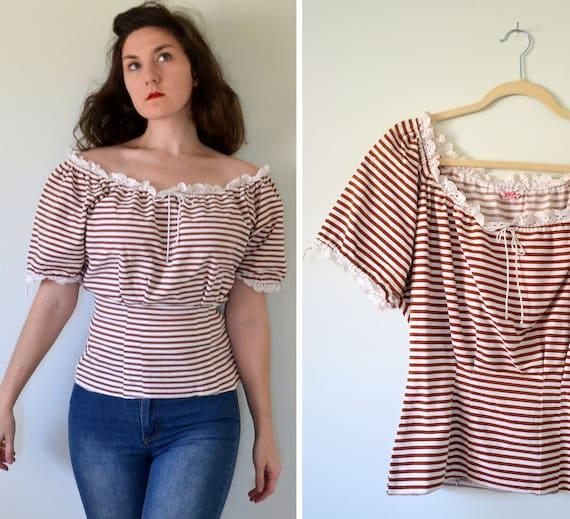 Carmelita Blouse | vintage 40's stripe peasant blo