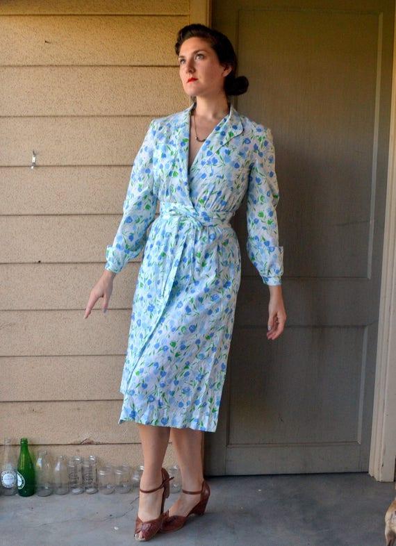 True Blue Tulip Dress   vintage 70s does 40s print