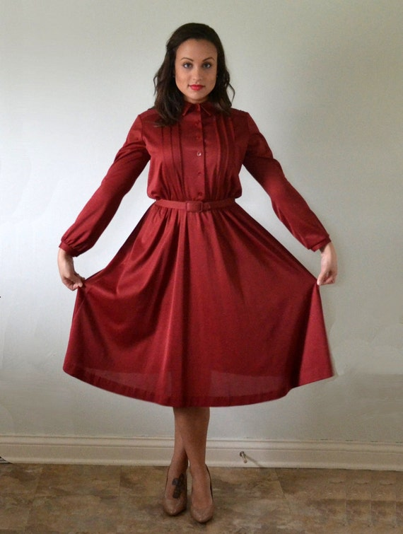 Mulberry Muse Dress | vintage 70's does 40's wine