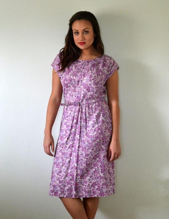 Orchid Garden Dress   vintage 60's violet rose pri