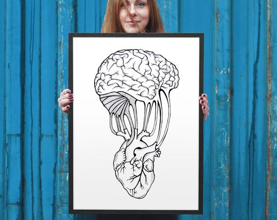 Mind and Spirit connection | Framed poster | Wall art decor | Ink Illustration | Tattoo art | Anatomical heart and brain | ZuskaArt