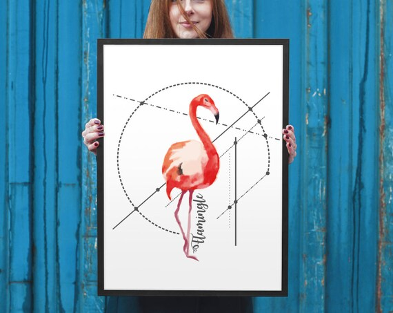 LET'S FLAMINGLE! | Framed Poster | Wall art decoration | Archival print | Geometrical design | ZuskaArt