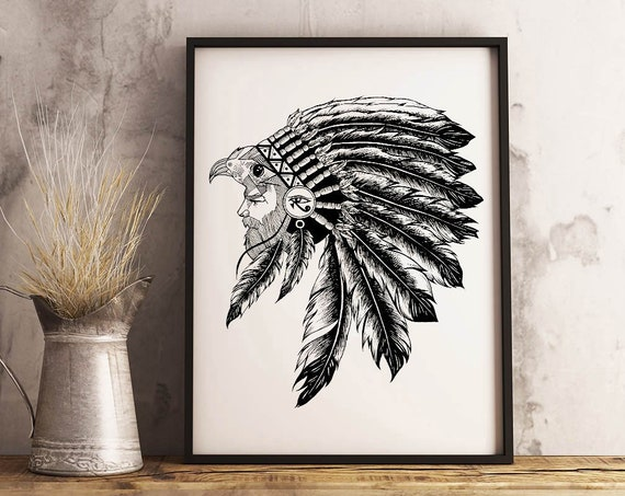 Horus falcon with sacred feathers headdress | Framed Poster | Third eye of Horus | Tattoo style | Ink drawing | ZuskaArt