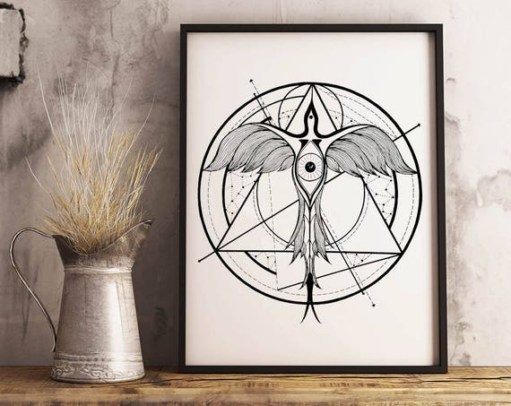 Phoenix ascending | Framed Poster | Wall art decoration | Ink drawing | Tattoo Style | Geometrical Art | Alchemy | Horus Eye | ZuskaArt