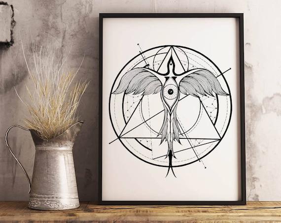 Phoenix ascending | Framed Poster | Wall art decoration | Ink drawing | Tattoo Style | Geometrical Art | Alchemy | Horus Eye | ZuskaArt