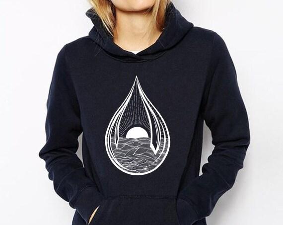 Black Sun Teardrop | Unisex Hoodie Sweatshirt | Ink Tattoo style | Graphic Hoodie | Ocean Waves | Sunrise sunset | ZuskaArt