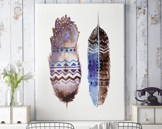 Boho feathers | | Canvas art | Wall decor | Hippie art | Feathers | Dreamcatcher | Native americans art | art prints for sale | Watercolor