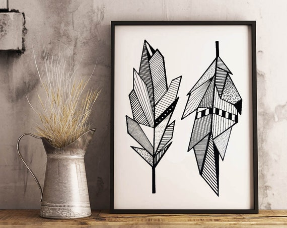 Sacred Feathers | Framed Poster | Native American Art | Graphic Drawing | Geometric Art | Ink Tattoo style | Original Artwork | ZuskaArt