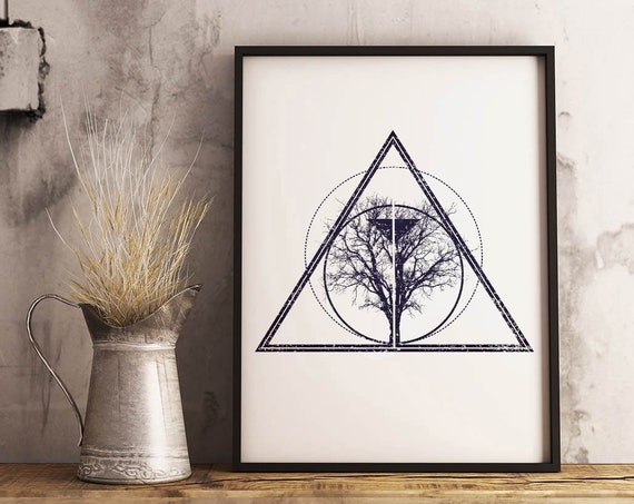 Tree of Life / Knowledge | Framed Poster | Wall art decoration | Bodhi tree | Ink drawing | Tattoo Style | Geometrical Art | ZuskaArt