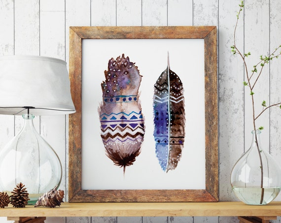 Boho feathers | Hippie art | Paper poster | Wall decor | Native american art | Watercolor art | Bohemian art | Indian | Nursery poster