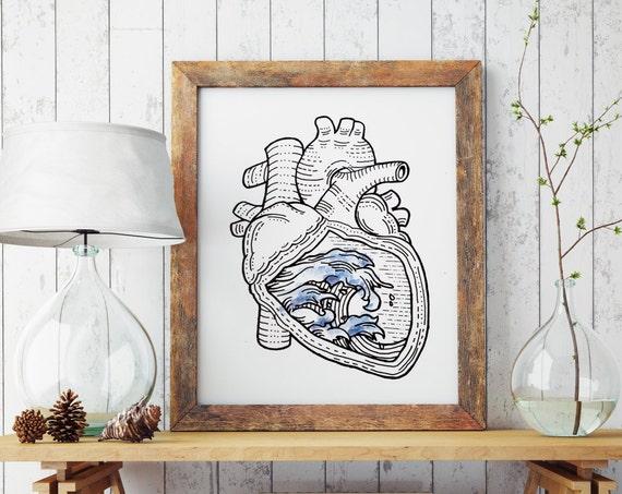 OCEAN HEART  | Wall art | Archival print paper poster | Surfer artwork | Japanese waves | Anatomical Heart | Tattoo Style art | Zuska Art