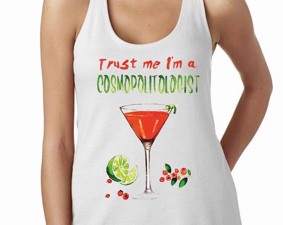 Cosmopolitan cocktail pun | Satin Jersey Ladies' Shirttail Tank | Graphic tank top | Trust me I'm a cosmopoitologist!| Original Artwork |