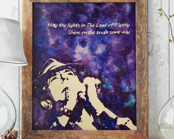 Leonard Cohen tribute | Paper poster |Archival print| Wall decor | Music artwork | Folk Art | Purple galaxy | Watercolor painting | ZuskaArt
