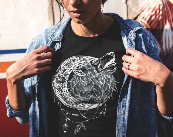 Mandala moon howling wolf | Unisex T-shirt | Apparel | Women / Men Clothing | Animal spirit totem | Ink Tattoo design Tee | ZuskaArt