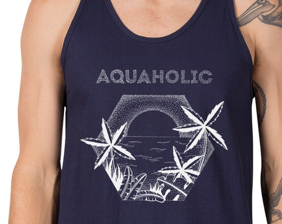 Aquaholic | Unisex American Apparel Tank top | Beach shirt | Palm trees | Tattoo style | Original artwork | Ocean sunset | ZuskaArt