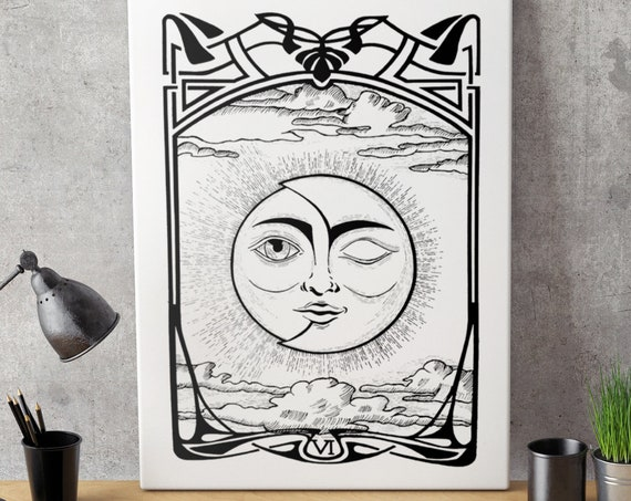 The Lovers VI Tarot Card | Framed Canvas | Sun and Moon | Solar Eclipse | Original artwork | Ink drawing | Cosmic wedding | ZuskaArt