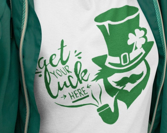 St Patrick's Day Unisex T-shirt | Irish green graphic |  Leprechaun with lucky clover leaf | Get your luck here | Ireland shamrock |ZuskaArt