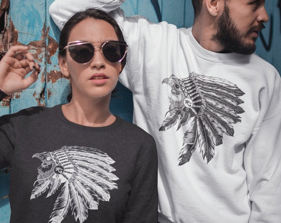 Horus falcon with sacred feathers headdress | Unisex Crewneck Sweatshirt | Third eye of Horus | Tattoo style | Ink drawing | ZuskaArt