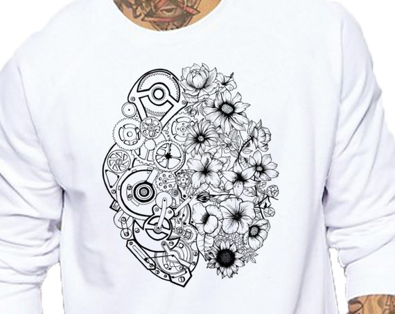 Left Brain Right Brain | Unisex Heavy Blend Crewneck Sweatshirt | Graphic Sweatshirt | Pen and Ink art| Tattoo Style| Original art| ZuskaArt