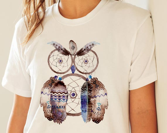 Dreamcatcher Owl | Unisex T-shirt | Apparel | Women / Men Clothing | Personalized T-shirt | Graphic Tee | Native Art Tee  | ZuskaArt