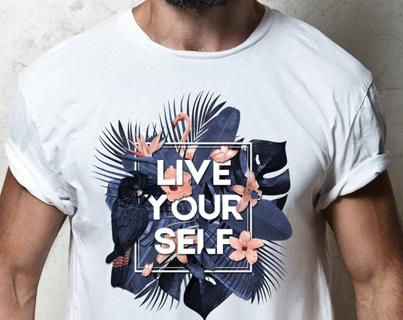 Live Your Self | Unisex T-Shirt | Tropical leaves | Parrots and butterflies | Motivational quote | indigo and peach |  ZuskaArt
