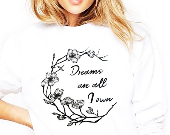 Dreams are all I own | Heavy Blend Crewneck Sweatshirt | Typography Shirt | Cherry Tree Flowers | Geometric Art | Ink Tattoo style |ZuskaArt