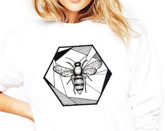 7a964eac Honeycomb Bee | Unisex Heavy Blend Crewneck Sweatshirt | Geometric Art |  Save The Bees | Ink Tattoo style | ZuskaArt