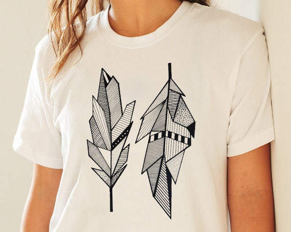 Sacred Feathers | Unisex T-shirt | Native American Art | Graphic Drawing | Geometric Art | Ink Tattoo style | ZuskaArt