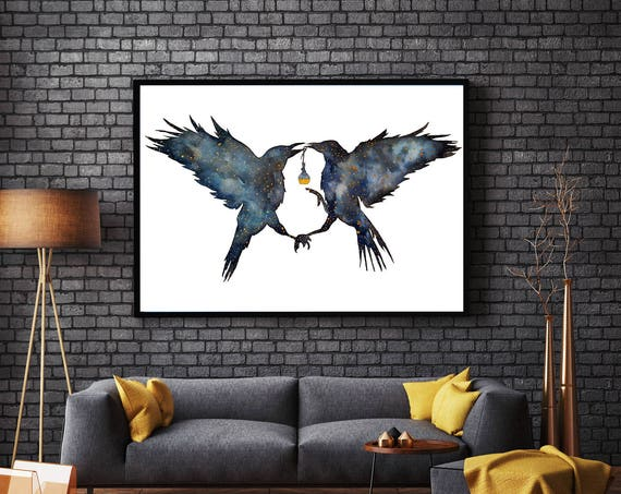 Magic Ravens | Framed poster | Shamanic crow | Elixir Potion | Watercolor galaxy | Spirit animal totem | Native American | ZuskaArt