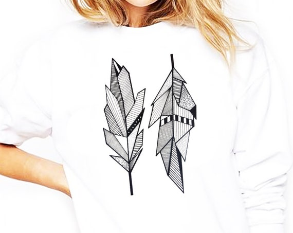 Sacred Feathers | Unisex Heavy Blend Crewneck Sweatshirt | Native American Art | Graphic Drawing | Geometric Art | Ink Tattoo style|ZuskaArt