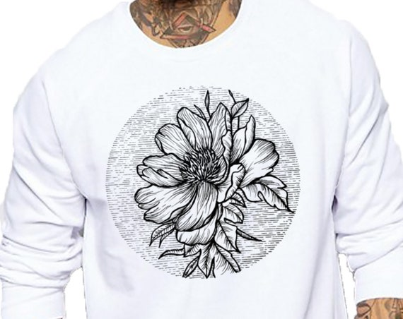 Blooming Flower | Unisex Heavy Blend Crewneck Sweatshirt | Cherry Tree | Geometric Art | Ink Tattoo style | ZuskaArt