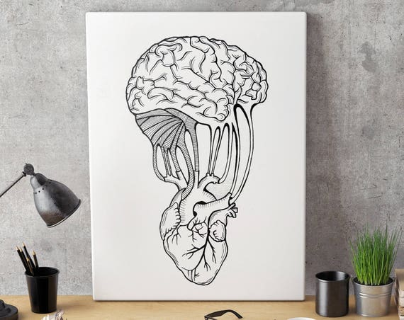 Mind and Spirit connection | Framed Canvas | Wall decor | Ink Illustration | Tattoo art | Black and white | Anatomical art | ZuskaArt