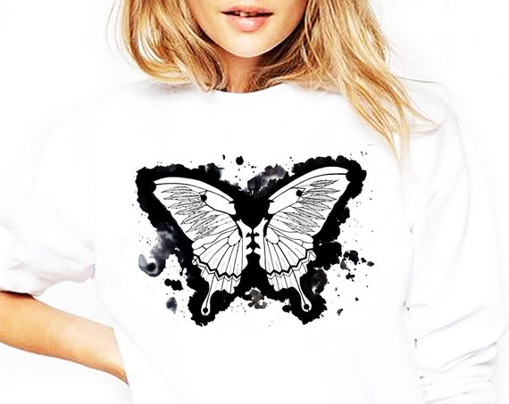 Butterflies in my stomach | Heavy Blend Crewneck Sweatshirt | Metamorphosis | Kissing faces | Sacred feathers | Native american art|ZuskaArt