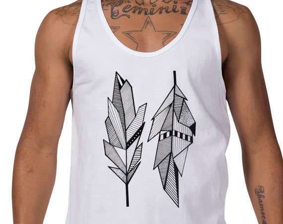 Sacred Feathers | Unisex American Apparel Tank Top | Native American Art | Graphic Drawing | Geometric Art | Ink Tattoo style | ZuskaArt
