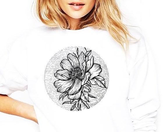 Blooming Flower | Unisex Heavy Blend Crewneck Sweatshirt | Cherry Tree | Geometric Art | Ink Tattoo style | ZuskaArt
