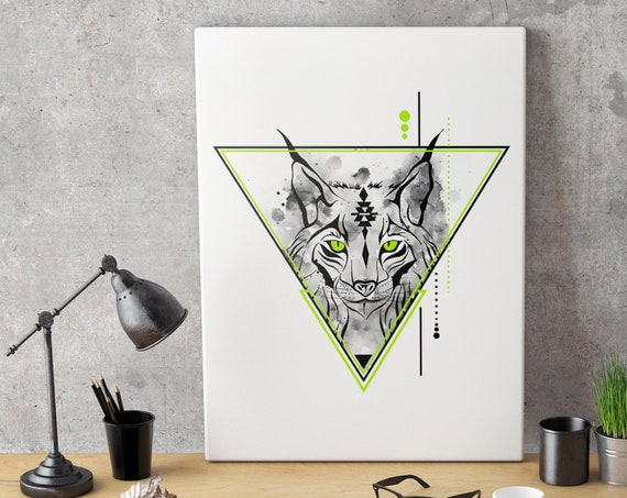 Geometrical Lynx | Bobcat animal spirit totem | Framed Canvas | Geometric Art | Original Artwork | Spirituality | Shamanism | ZuskaArt